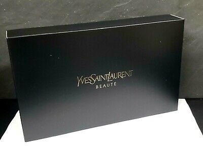 YSL Yves Saint Laurent cosmetics makeup toiletry bag BLACK glossy WITH BOX