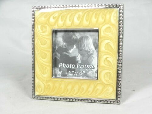 """Picture Frame Yellow Swirl Enamel w/ Beaded Silver Tone Outline for 2""""x 2"""""""