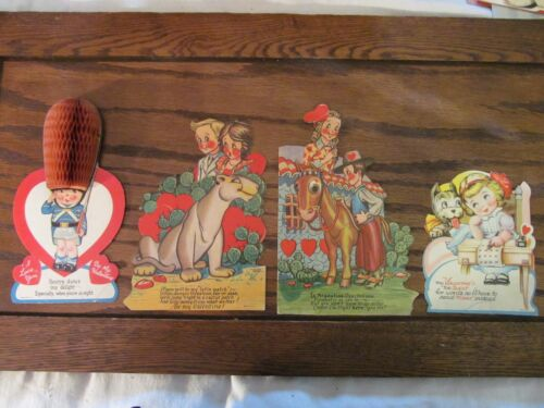 Lot of 4 Large Vintage Mechanical /  Honeycomb Valentine Cards Old Die Cut