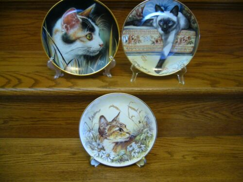 Lot of 3 HAMILTON Cat Tails  FRANKLIN MINT Blue Eyes  REGENCY Cat Kittens Plates