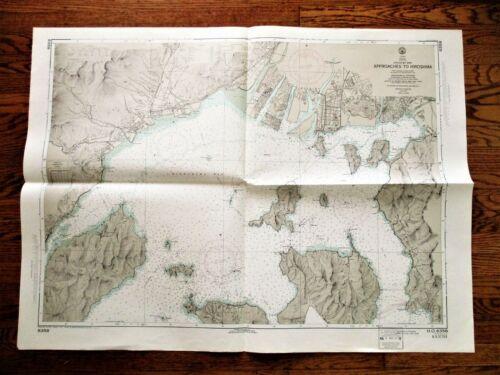 "1972 Soundings Map APPROACHES TO HIROSHIMA Japan Naikai Inland Sea 30x42"""