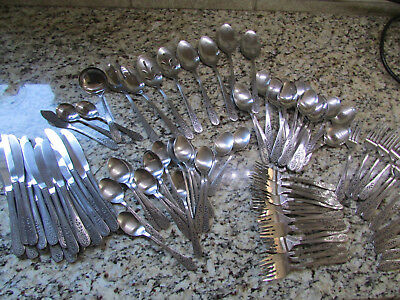 ROGERS STANLEY ROBERTS FLORAL MIST STAINLESS SILVERWARE FLATWARE SET 105 PIECE