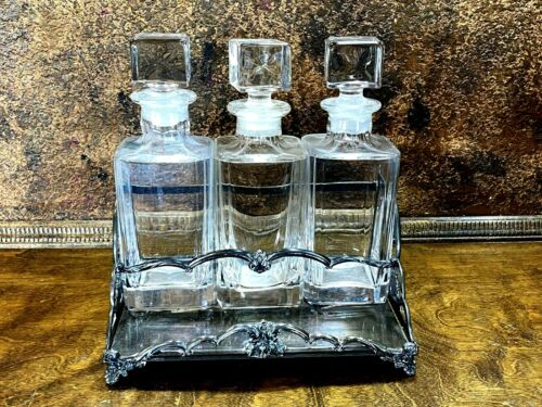 Vintage 3 Crystal Liquor DECANTER TANTALUS SET  w Silver Holder ~ Scotch Bourbon