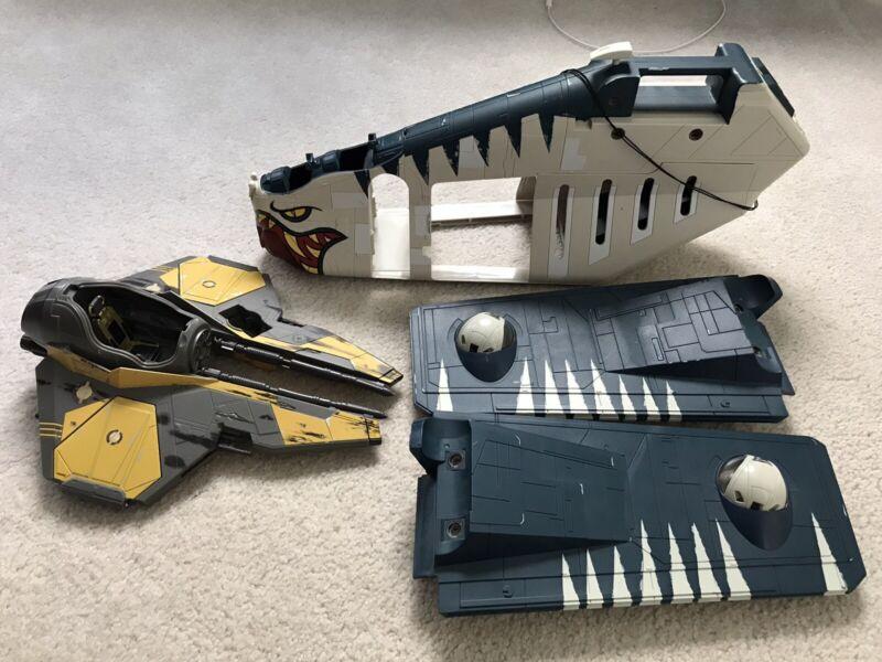 Hasbro Star Wars Tiger Shark Republic Gunship 2006 And Jedi Star Fighter 2004