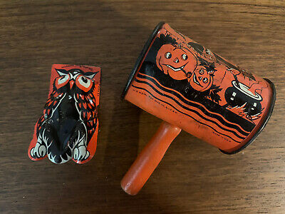 Lot Of 2 Vintage Halloween Noisemaker Clickers Owls Kirchof Life Of Party US Toy
