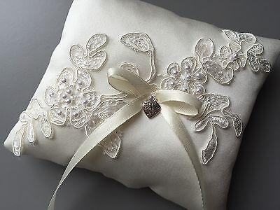 Fab Ivory Wedding Ring Pillow Cushion Holder Bearer Beaded Lace Bow Heart Pocket