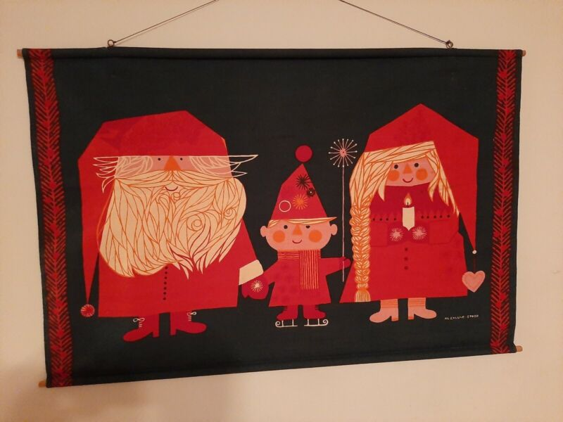 Vintage Mid Century Al Eklund Stobo Studio Christmas Fabric Wall Hanging Bannen