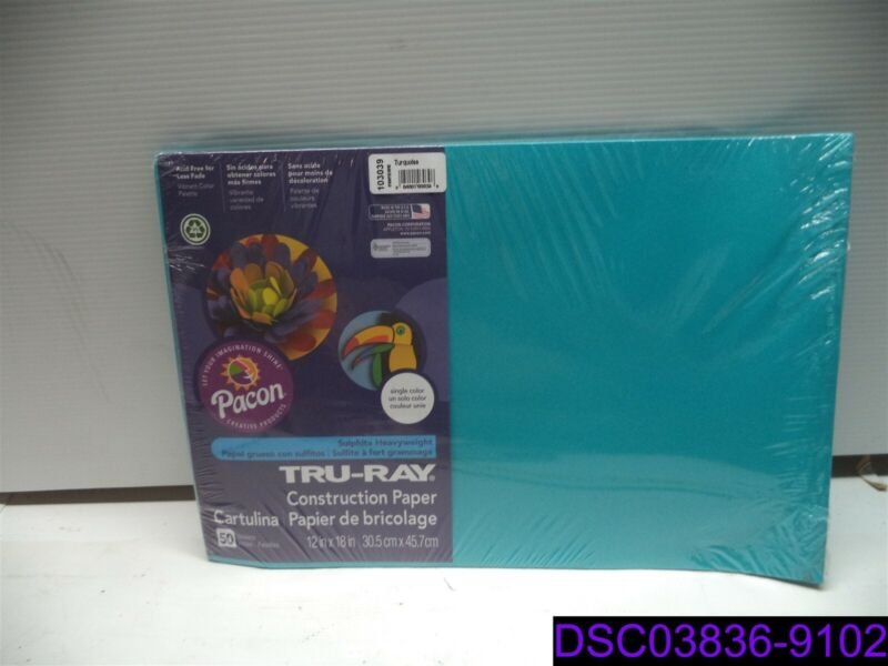 "Qty = 500 sheets (10 Packs x 50): Tru Ray Paper Turquoise 12"" x 18"" 103039"