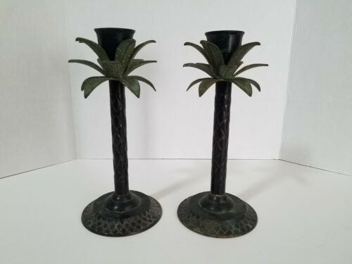 Pair Of Vintage Tropical Metal Palm Tree Candle Stick Holders
