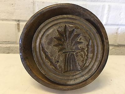 Antik Primitive Gedrehter Holz Butter Form mit / Baum oder Ananas Dekoration
