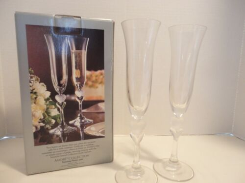 Gorham Pair of Toasting Flutes Amore Collection Two Hearts 1999 Germany w/ Box