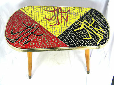 Beautiful  50´s Mid Century Design Mosaik Beistell Tisch  side table  51 x 30 cm