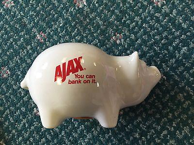 "Vintage 1950s Ajax Detergent Ceramic Piggy 6"" Bank GUC"