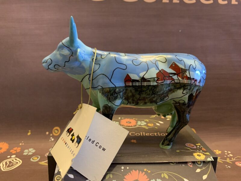 """Cow Parade """"Puzzled Cow"""" #9181 2001 With Tag, Retired"""