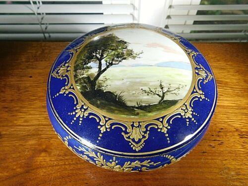 Antique Hand Painted Sevres Style French Porcelain Dresser Powder Box Landscape