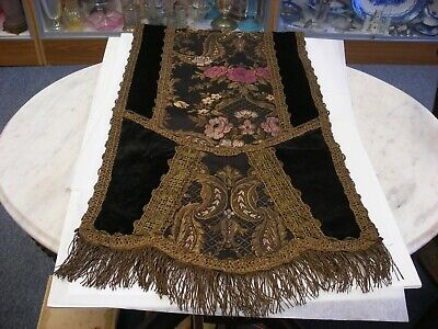 """Antique Embroidered with Metallic Thread Table Runner or Piano Scarf 57"""" X 17"""""""