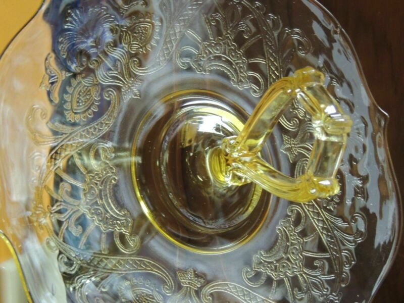 "Yellow Madrid Depression Glass Serving Plate 11""+ Center Handle Federal Amber"