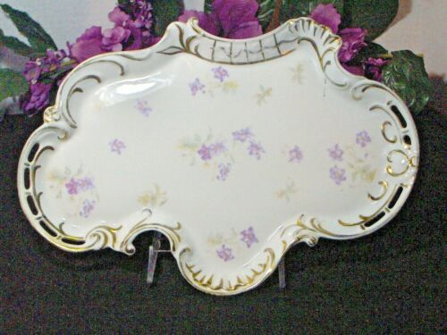 Vintage Victoria Carlsbad Austria Porcelain Purple Flower Tray