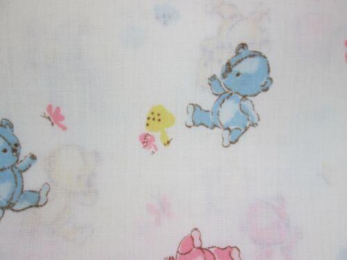 Vintage 70s 80s Teddy Bear Nursery Juvenile Fabric Cotton Pastel Blue Yellow