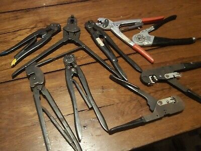 Amp Hand Crimper Lot Of 5 Tyco 26-22 Type F C Industrial Air Craft Other Brand