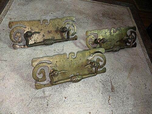 Antique Vtg 3 Piece Set Brass Oriental Cabinet Furniture Handles Pulls