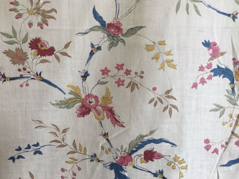Antique French Floral Light Cotton Fabric ~ 18thc pattern ~ Blue Rose Ochre Sage