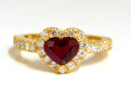 Certified 1.62ct Natural Ruby Diamonds Ring 14kt Heart Cut