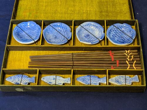 Japanese wooden chopstick set w/ ceramic soy sauce bowls, and chopstick rests.