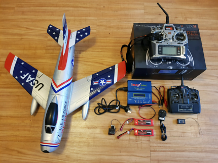 RC plane set up with 8ch transmitter