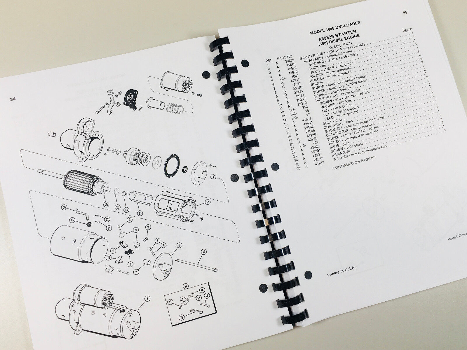 The parts manual shows you how components go back together