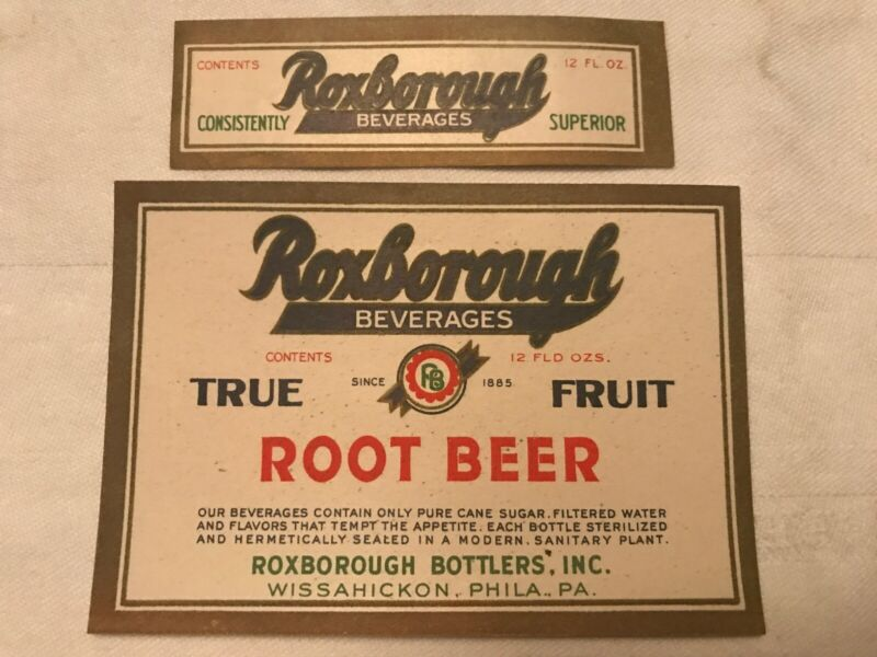 Roxborough Beverages Root Beer Labels, Wissahickon, Phila, Pa.
