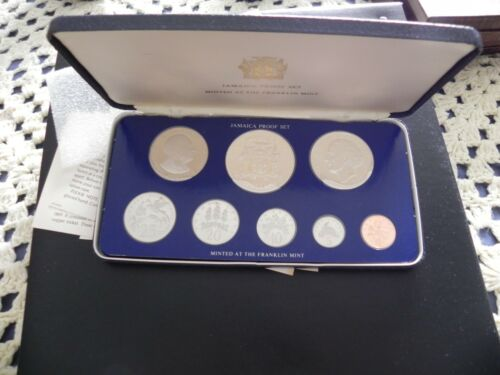 1975 SILVER JAMAICA COINAGE 8 COIN PROOF IN SET ORIGINAL PACKAGING,BOX & COA