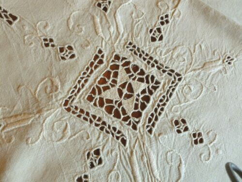 Vintage Italian Linen Embroidered Reticella Cutwork Tablecloth IVORY
