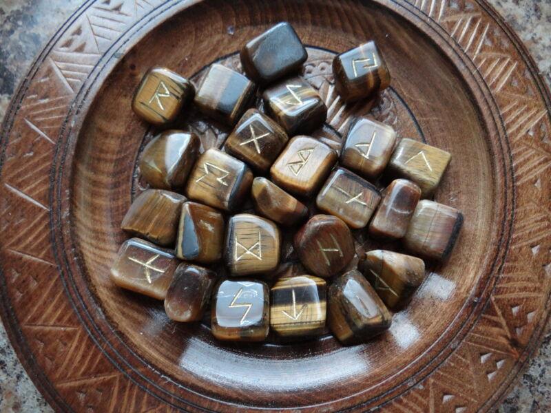 Tiger Eye Gemstone Runes Wiccan Pagan Altar Supply