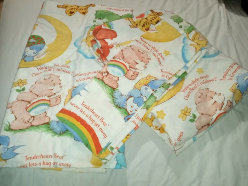 CARE BEARS SHEETS VINTAGE 1980s FULL SIZE FLAT & FITTED SHEETS Flannel