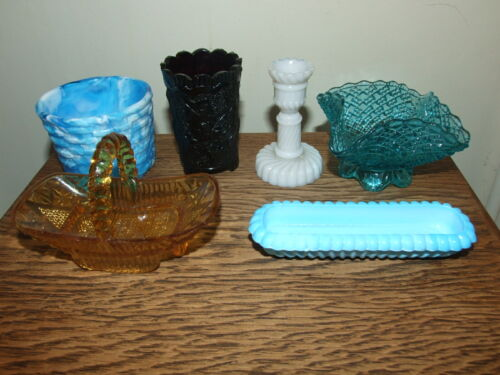 6 Victorian Pressed Glass Small Pieces Davidson Sowerby Greener