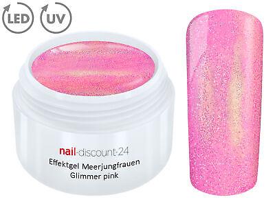UV LED Gel MERMAID GLIMMER Effekt PINK Farb Color Nagel Glitter Glitzer Art Tips