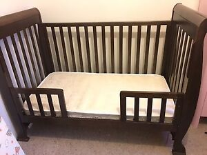 3 in 1 Baby Sleigh Cot with drawer + Innerspring Mattress Meadowbank Ryde Area Preview