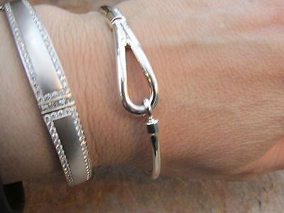 (Sterling Silver Cuff Bangle Bracelet Hook Buckle Design Slip ON 8