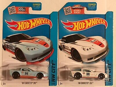 Hot Wheels 09 Corvette ZR1 Gulf Lot Of 2 Cars 2015 HW City Series Awesome!!