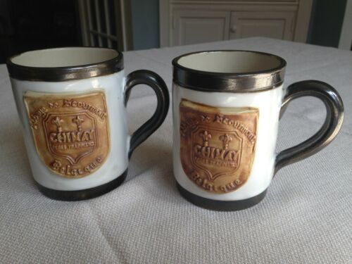 Studio Pottery Chimay Trappist Belgian Beer Mugs Signed Lardinois. Set of Two