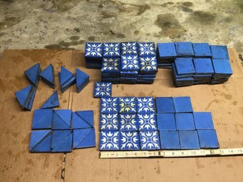 """LOT Of 130 A. E. Tile Co. ANTIQUE FIREPLACE BLUE 2"""" x 2"""""""