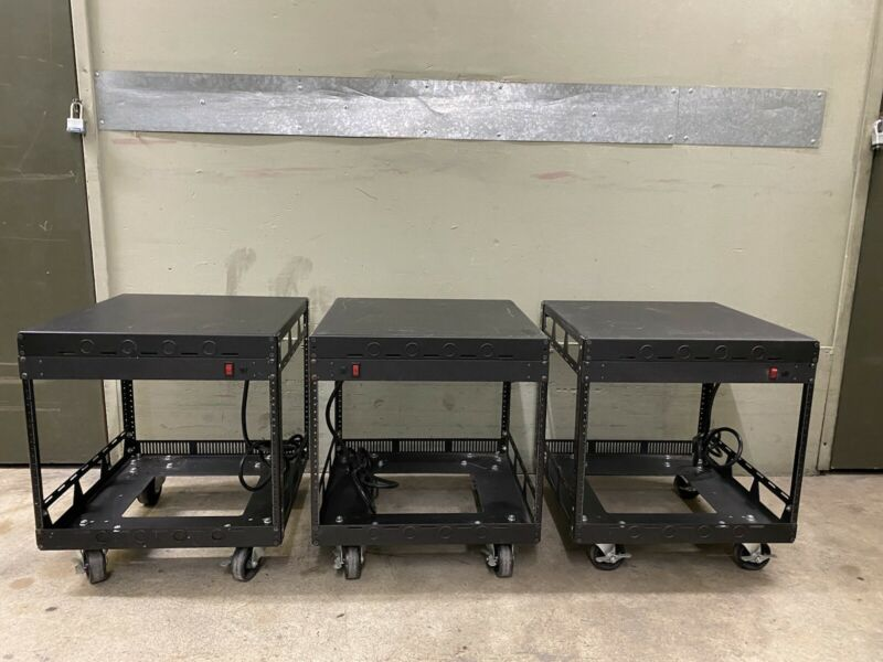 3x Middle Atlantic 5-8-26 Slim 5 Series 8-Space Racks w/Power Supply + Casters