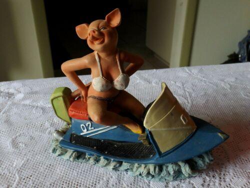 SEXY BABE FEMALE PIG IN A BIKINI RIDING A JET SKI FIGURINE *