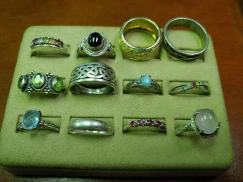 Lot Of 12 Sterling Silver Rings 56.9 G Size 10 & Up Lot # 51
