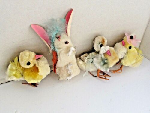 4 Vintage  Cotton Batting and Chenille Easter Group Bunny and 3 Chicks
