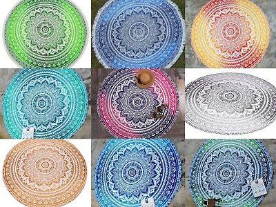 Mandala Runde Strand Tapisserie Hippie werfen Yoga Matte Handtuch Indian Roundie - Baumwolle Indian Werfen