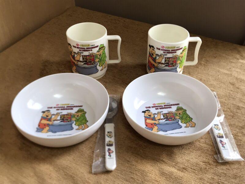 Flintstones POST Pebbles Cereal Bowl,Cup,Spoon Set Fred,Barney,Dino, 1990, USA