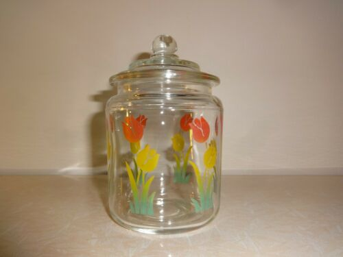 Vintage Clear Glass Miniature Canister Jar w/ TULIPS Design