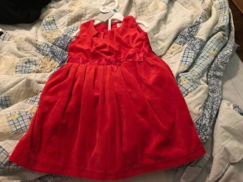 Carter's Baby Girl Red Velvet Bow Dress Christmas Winter Siz